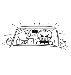Stickman cartoon of crazy car driver and scared vector