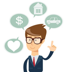 successful business man dreaming about house car vector image