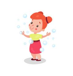 sweet cartoon redhead little girl having fun vector image vector image