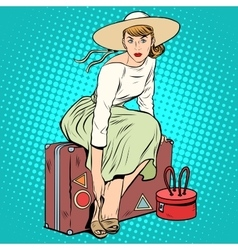 The girl passenger Luggage vector image vector image