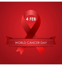 World Cancer Day background with ribbon vector image vector image