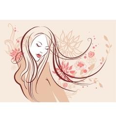 Beautiful floral girl vector