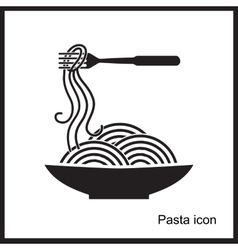 Spaghetti or noodle simple black icons vector