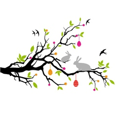 easter bunnies sitting on a spring tree vector image