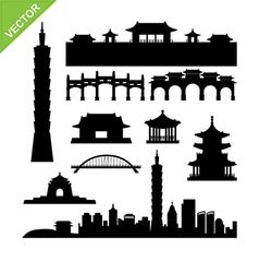 Taiwan taipei landmark silhouettes vector