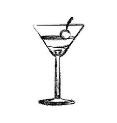 Blurred silhouette martini drink cocktail glass vector