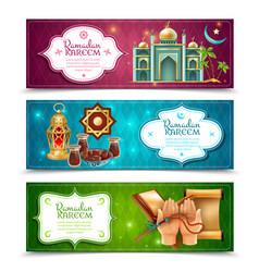 ramadan kareem 3 horizontal banners set vector image