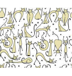 Cats seamless pattern for your design vector