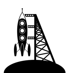 Rocket and launching pad vector