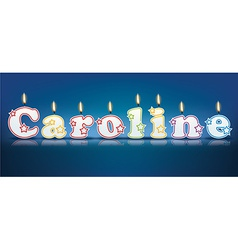 Caroline written with burning candles vector