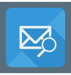 Mail icon envelope with magnifying glass flat vector