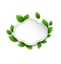 Abstract label with eco green leaves isolated on vector