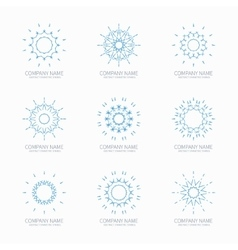 Simple blue geometric abstract symmetric shapes vector