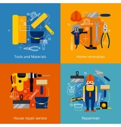 Repair service and renovation icons set vector