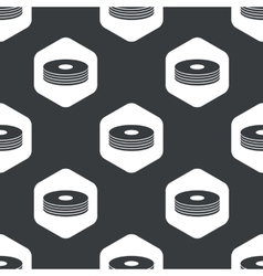 Black hexagon compact disc pattern vector