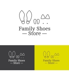Outline family shoes store logotype vector