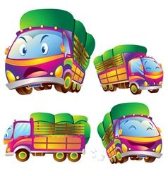 Cute truck cartoon actions vector