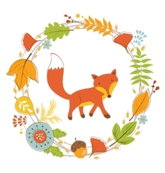 Little fox character in floral wreath vector