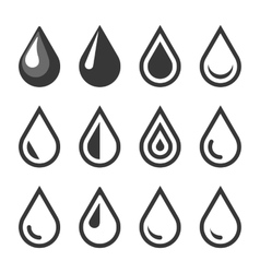 Oil or water drop emblem logo template icon set vector