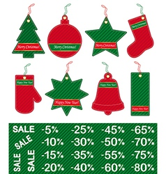 christmas and new year price tags vector image