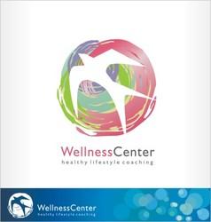 Wellness logo spa symbol healthy style bird vector