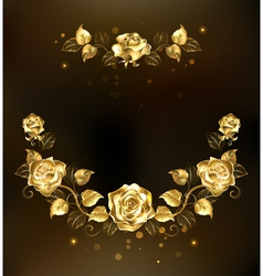 Symmetrical Garland of Gold Roses vector image