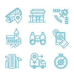 Location Line Icons vector image