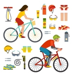 People on bicycles riders man and woman lifestyle vector