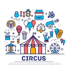 Premium quality circus outline icons collection vector image