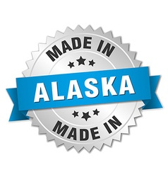 Made in alaska silver badge with blue ribbon vector