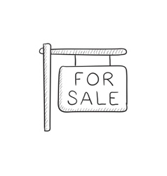 For sale placard sketch icon vector