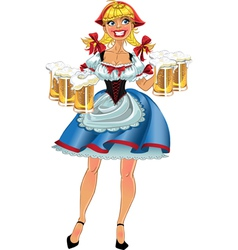 Octoberfest blond girl with beer vector