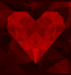 abstract background with heart of triangles vector image