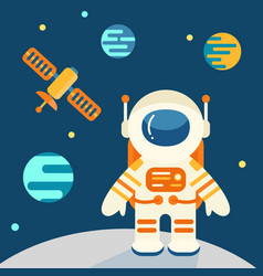 Astronaut on the moon in flat style vector