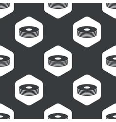 Black hexagon compact disc pattern vector image vector image