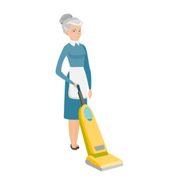Chambermaid cleaning floor with a vacuum cleaner vector
