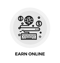 Earn online line icon vector