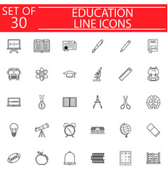 Education line icon set school sign collection vector