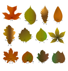 fallen leaves emoji set vector image
