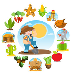 Farmer digging the ground agricultural business vector