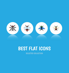 Flat icon fly set of buzz gnat bluebottle and vector