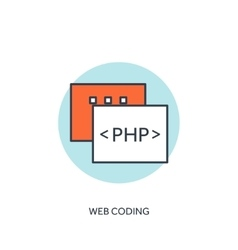 Flat lined document with php code coding and vector