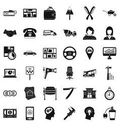 Good work icons set simple style vector