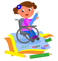 happy disabled girl drawing with big crayon vector image vector image