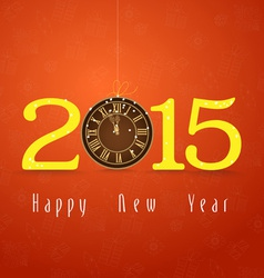 Happy new year clock gold vector