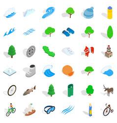 Hiking icons set isometric style vector