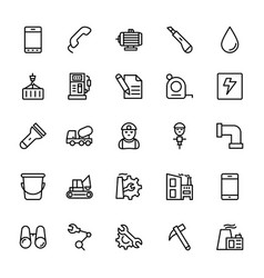 Industrial line icons 5 vector