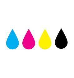 Ink drops in cmyk colors - cyan magenta yellow vector