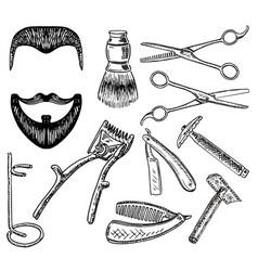 ink hand drawn style barbershop set vector image vector image