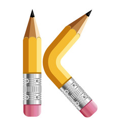 letter k pencil icon cartoon style vector image
